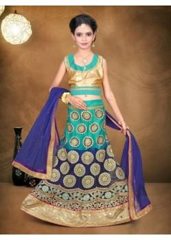 Sea Green Banglori Silk With Embroidery Work Lehenga Choli For Girls