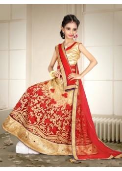 Red Banglori Silk With Embroidery Work Lehenga Choli For Girls