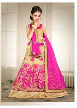 Banglori Silk With Embroidery Work Pink Lehenga Choli For Girls