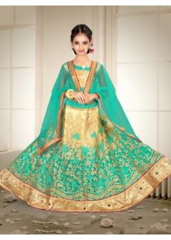 Banglori Silk With Embroidery Work Green Lehenga Choli For Girls