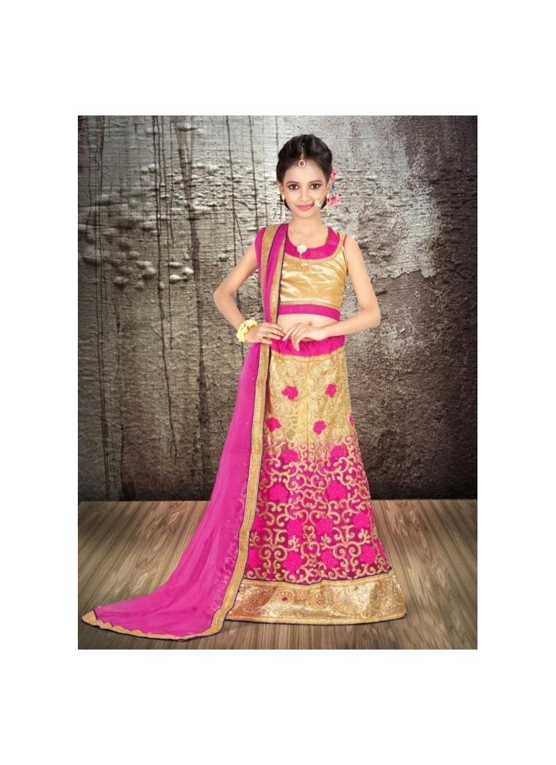 5f5d791e63 Buy Pink Banglori Silk With Embroidery Work Lehenga Choli For Girls ...