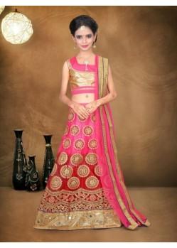 Pink Banglori Silk With Embroidery Work Lehenga Choli For Girls