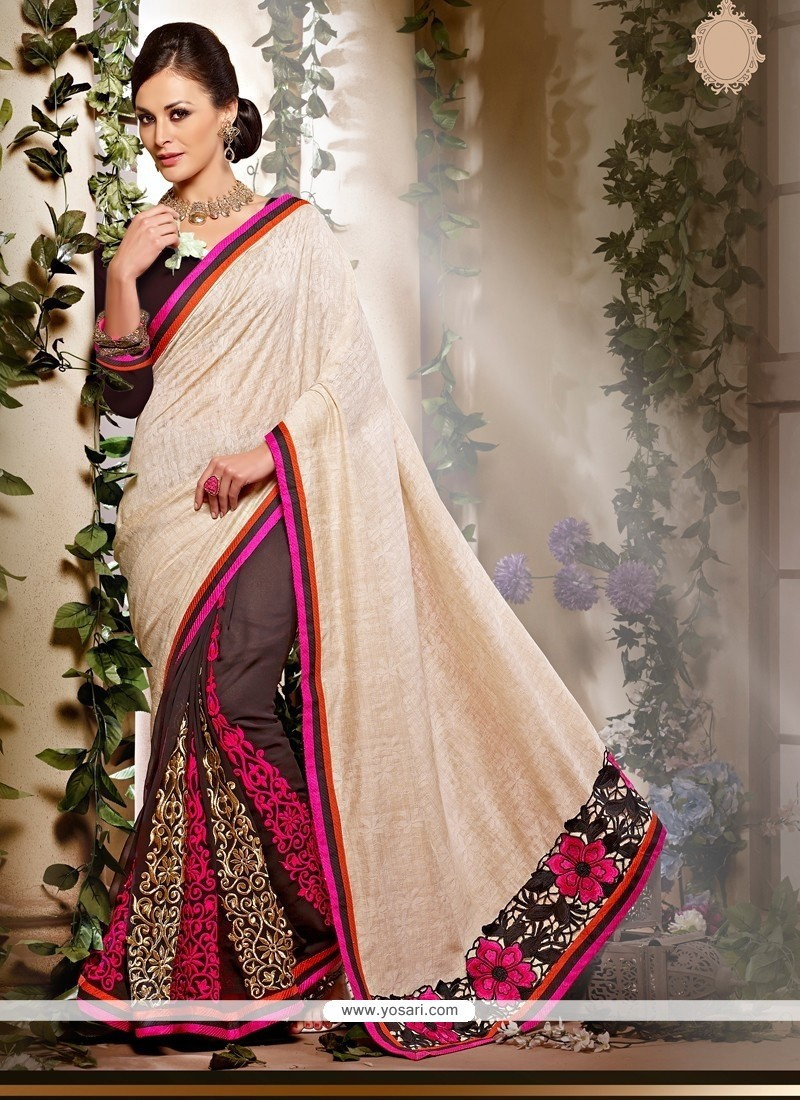 Cream And Wine Art Silk Designer Saree