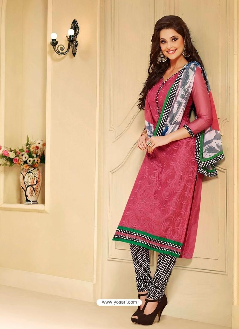 Pink Shade Chanderi Salwar Kameez