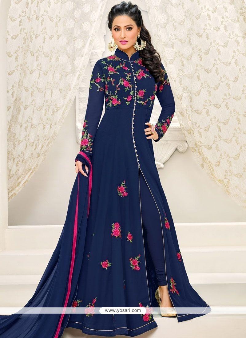 Buy Hina Khan Navy Blue Resham Work Designer Suit Anarkali Suits