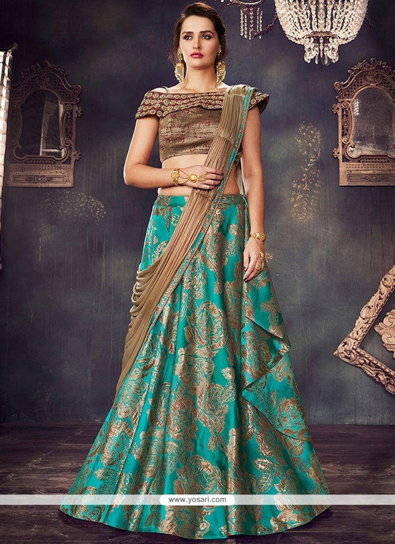 lehenga saree brocade party choli fancy wear silk designer sarees mahotsav difference lehengas between savory beads catalogue wholesale sari turquoise