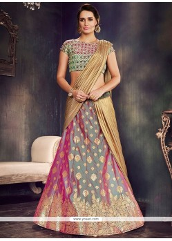 Art Silk Embroidered Work Lehenga Saree