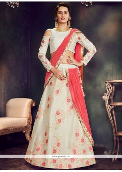 Art Silk Thread Work Lehenga Saree