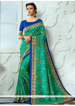 Tussar Silk Print Work Designer Traditional Saree