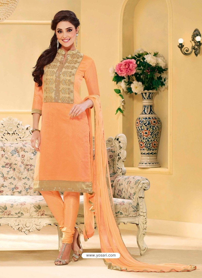 Peach Chanderi Salwar Kameez