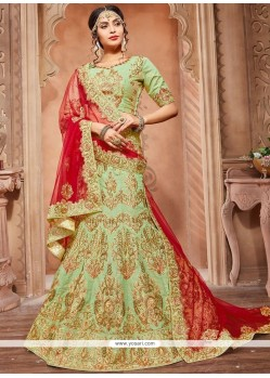 Sea Green Zari Work Art Silk Lehenga Choli