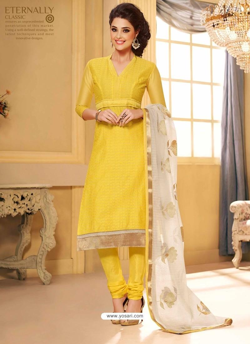 Yellow Chanderi Salwar Kameez