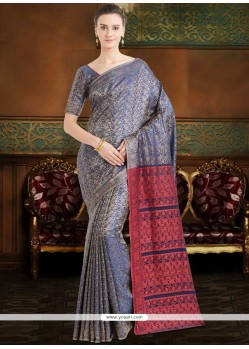 Paisley Print Work Poly Silk Casual Saree