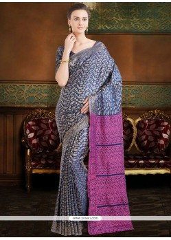 Poly Silk Blue Casual Saree