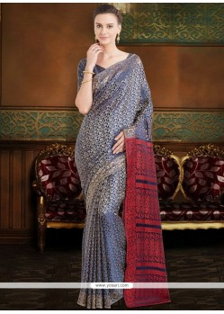 Poly Silk Blue Print Work Casual Saree