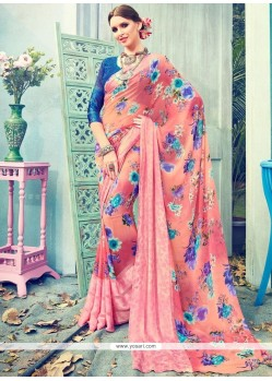 Satin Print Work Printed Saree