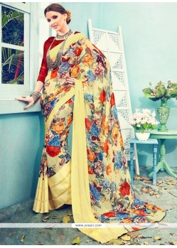 Print Satin Printed Saree In Multi Colour