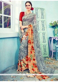 Print Work Satin Printed Saree