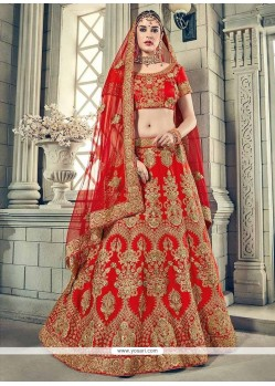 Art Silk Patch Border Work Lehenga Choli