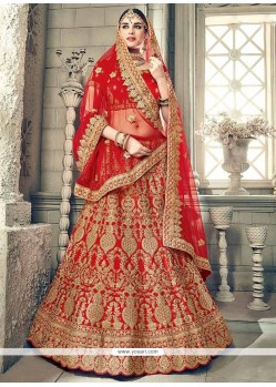 Resham Work Red Lehenga Choli