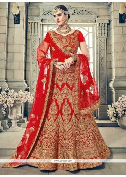 Red Resham Work Art Silk Lehenga Choli