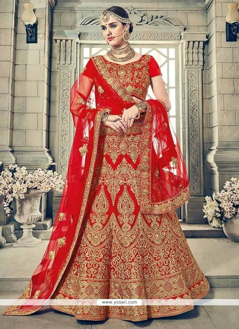 Buy Red Resham Work Art Silk Lehenga Choli Bridal