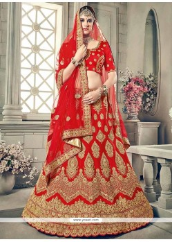 Art Silk Red Embroidered Work Lehenga Choli