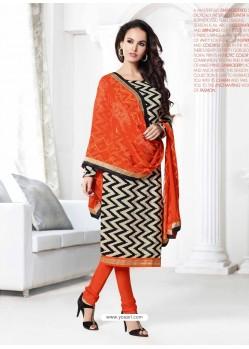 Orange And Black Chanderi Churidar Suit