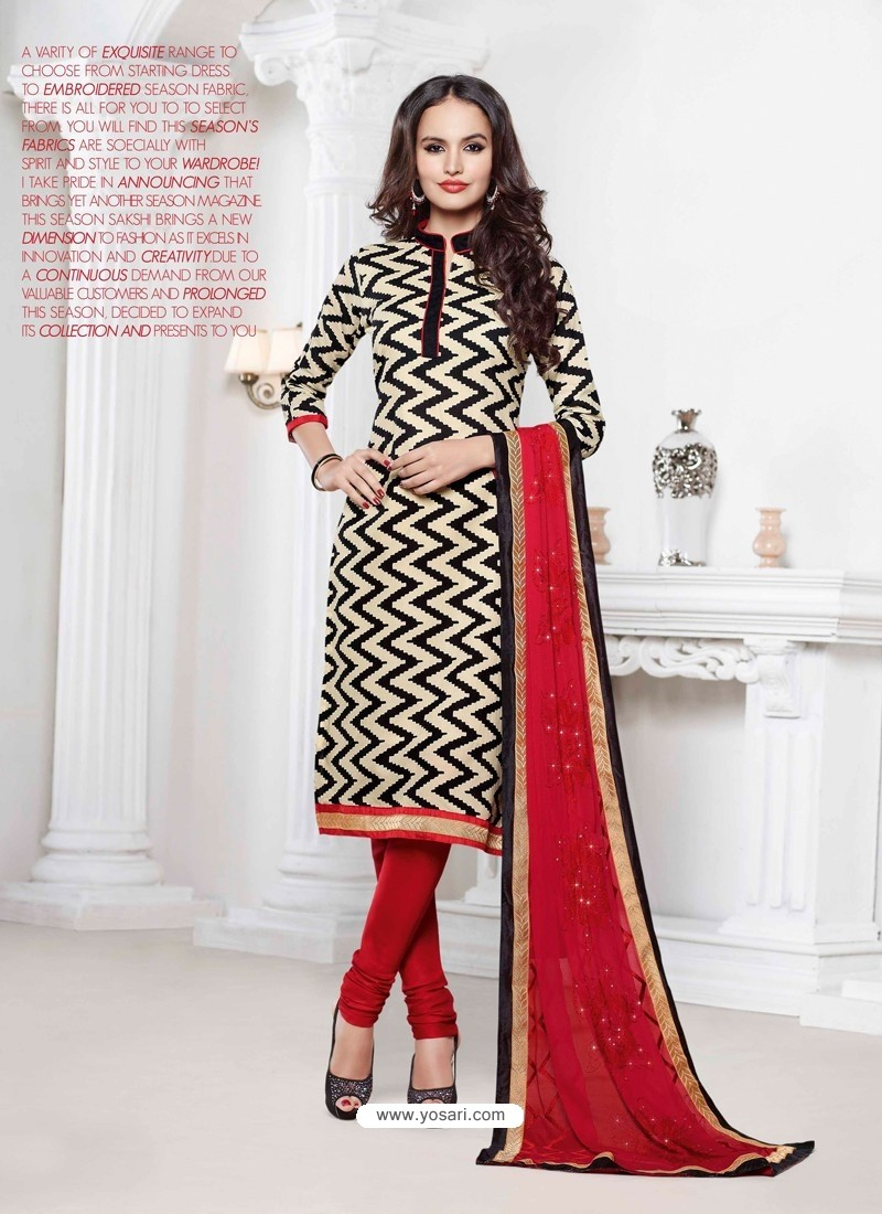 Red And Black Chanderi Churidar Suit
