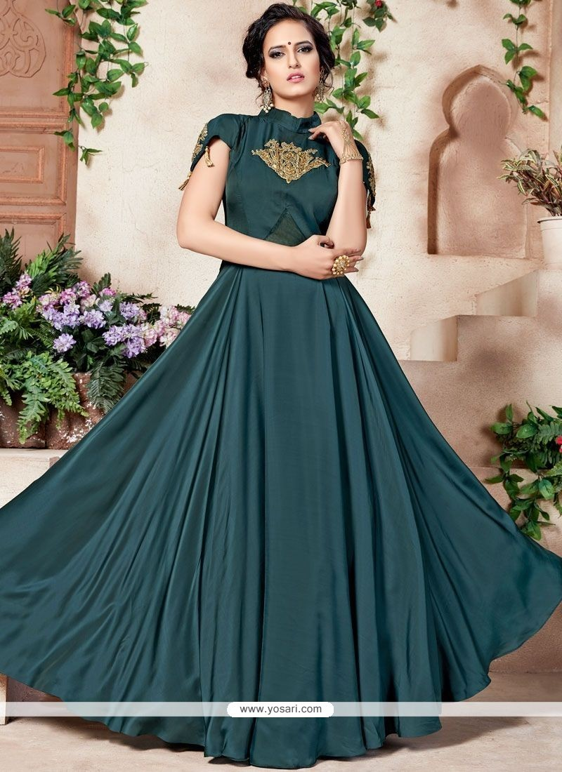 Buy Net Zari Work Designer Gown | Gowns