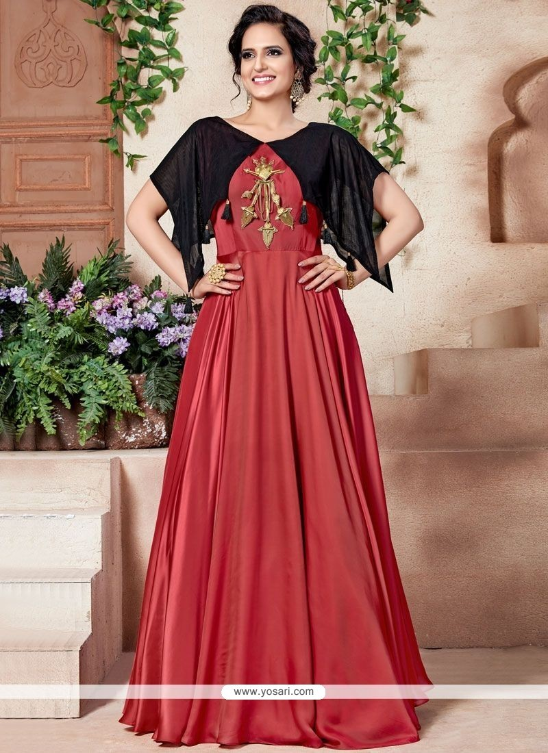 Buy Salmon Fancy Fabric Designer Gown   Gowns