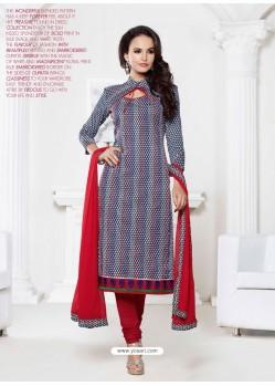 Multicolor Chanderi Churidar Suit