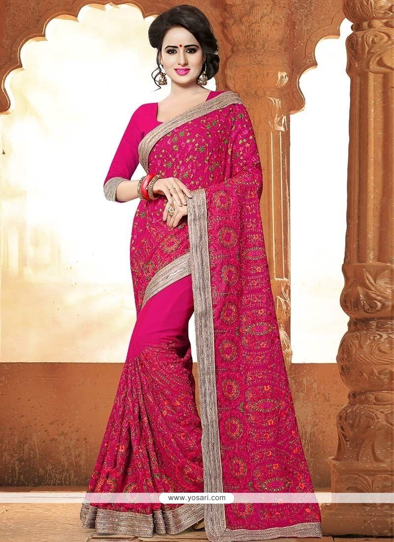 3dcf08ae7 Buy Patch Border Work Hot Pink Faux Georgette Saree
