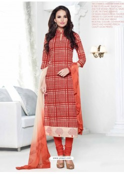 Orange Chanderi Churidar Suit