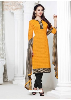 Black And Yellow Chanderi Churidar Suit