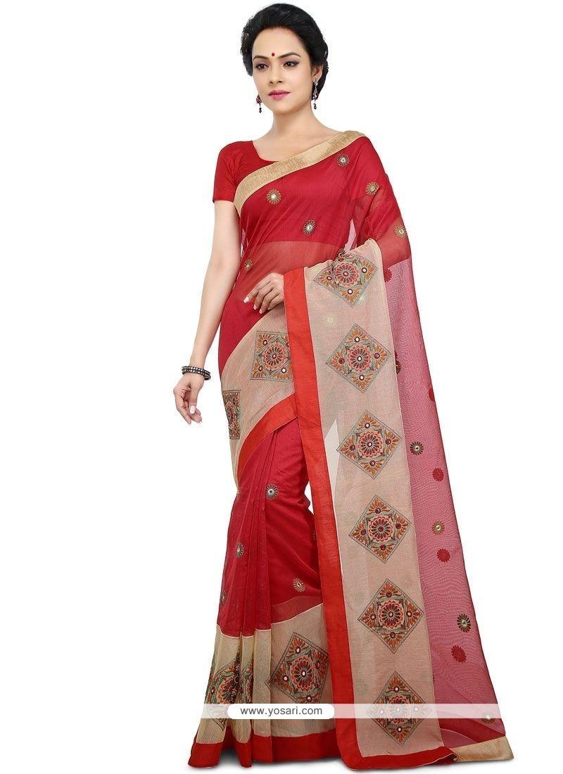 75e8bfa319 Buy Red Chanderi Cotton Saree | Designer Sarees