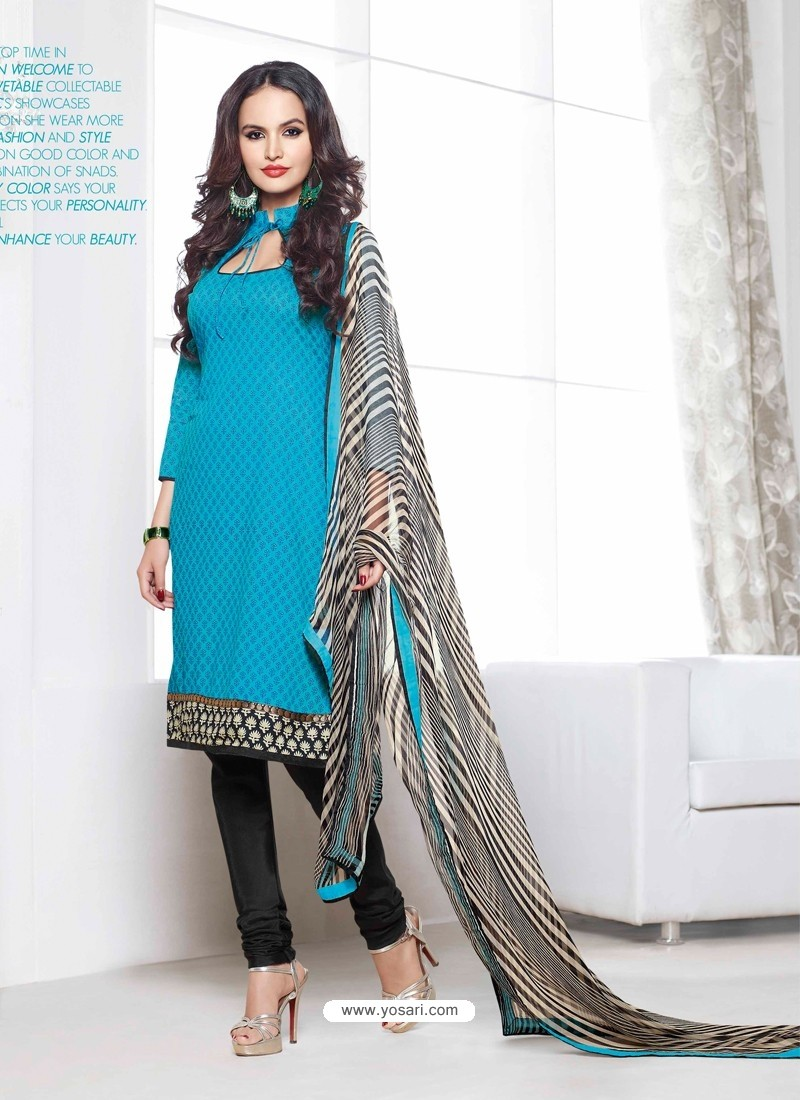 Sky Blue And Black Chanderi Churidar Suit