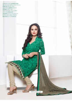 Green And Cream Chanderi Churidar Suit