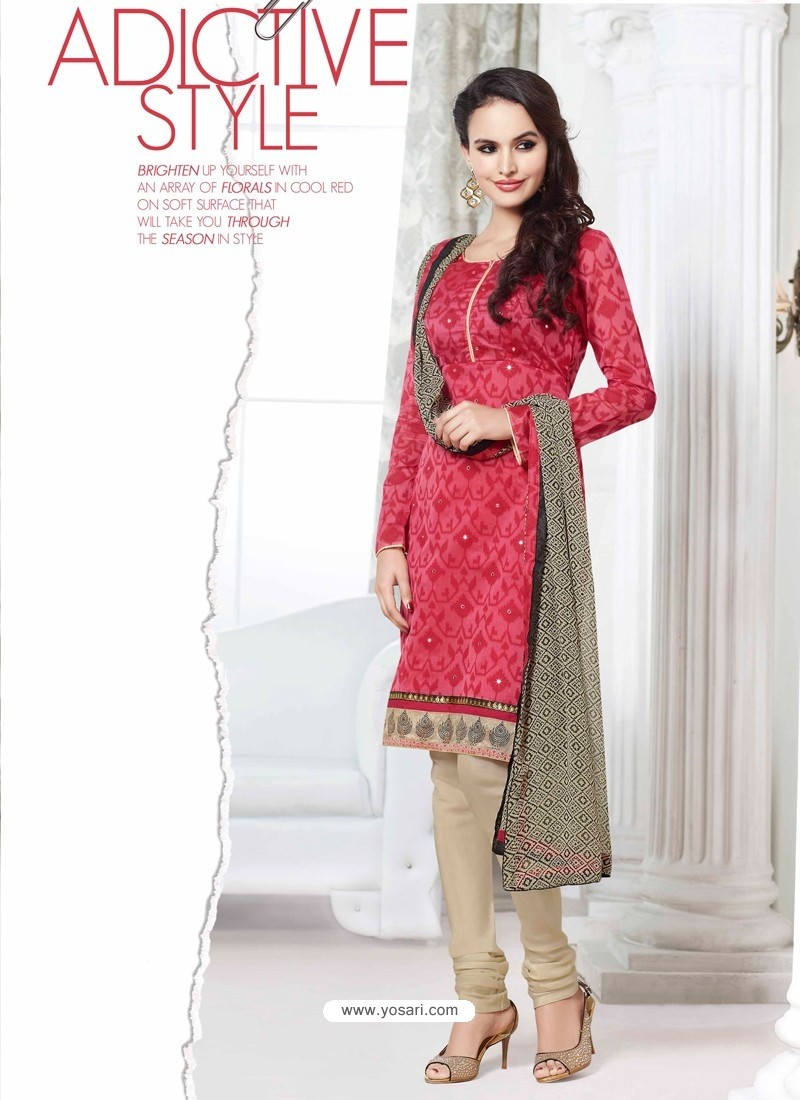 Red And Cream Chanderi Churidar Suit