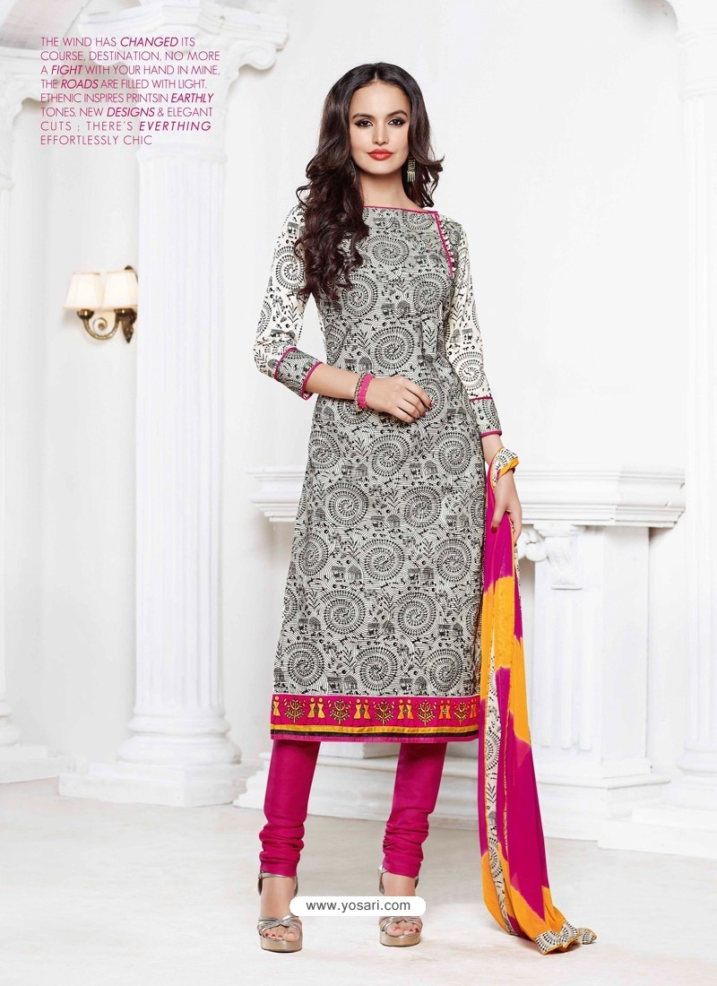 Pink And White Chanderi Churidar Suit