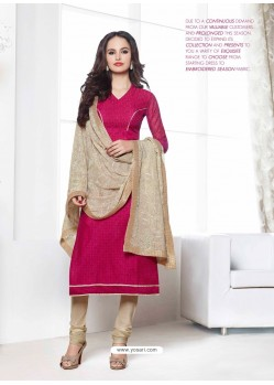 Pink And Cream Chanderi Churidar Suit
