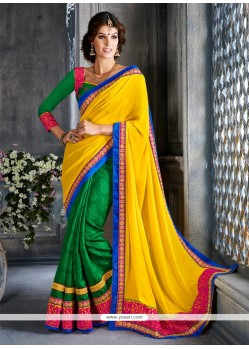 Radiant Green And Yellow Art Silk Designer Saree