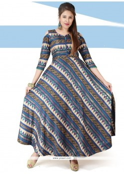 Blue Chanderi Print Work Readymade Gown