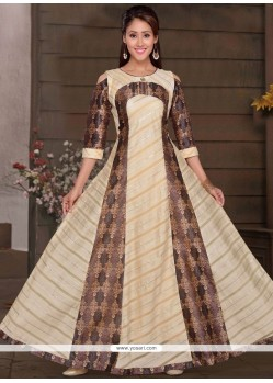 Print Work Chanderi Readymade Gown