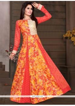 Orange Chanderi Print Work Readymade Gown