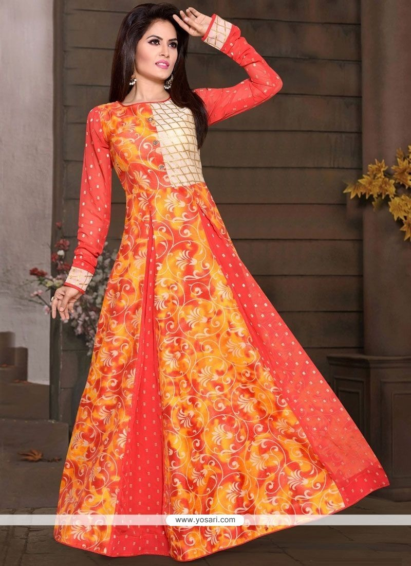 Buy Orange Chanderi Print Work Readymade Gown | Gowns
