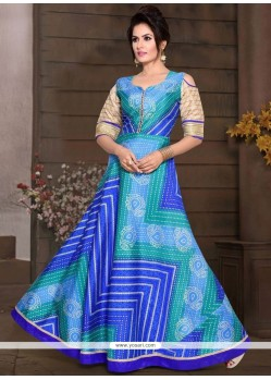 Chanderi Blue Print Work Readymade Gown