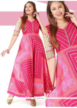 Chanderi Pink Readymade Gown