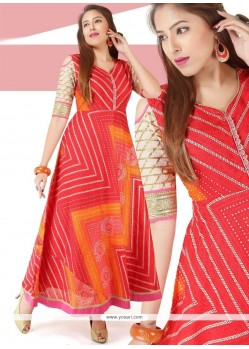 Chanderi Orange And Red Print Work Readymade Gown