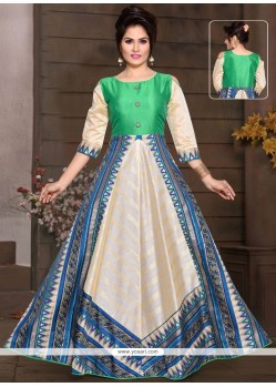 Multi Colour Chanderi Readymade Gown
